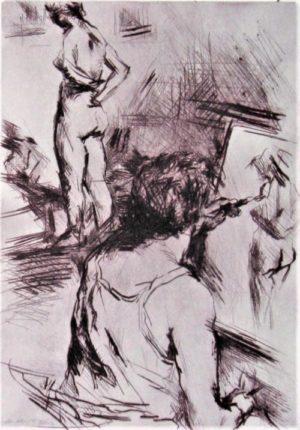 Le peintre et son modèle (pointe sèche)