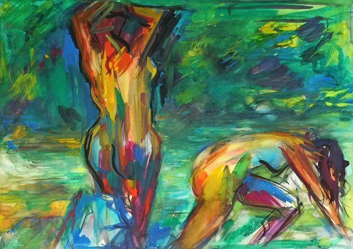 Baigneuses dans la Bourne (aquarelle)