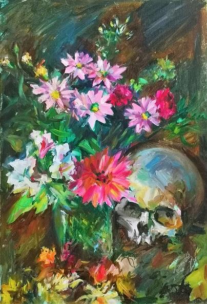 fleurs et vanité (huile)
