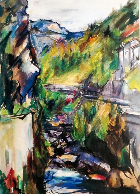 La Bourne vue du Pont Picard (aquarelle)
