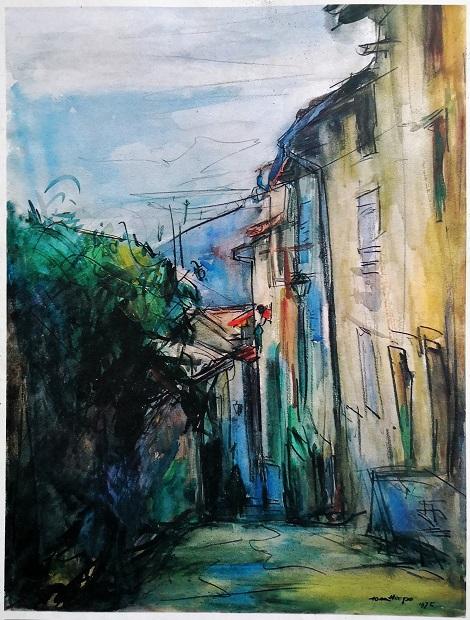 Rue de l'horloge à  Pont-en-Royans (aquarelle)