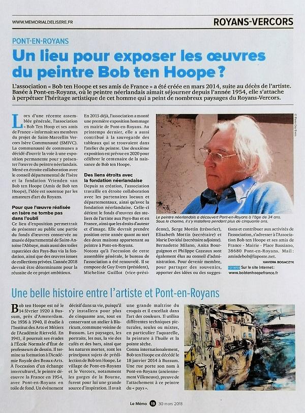 Article Mémorial de l'Isère (30 mars 2018)