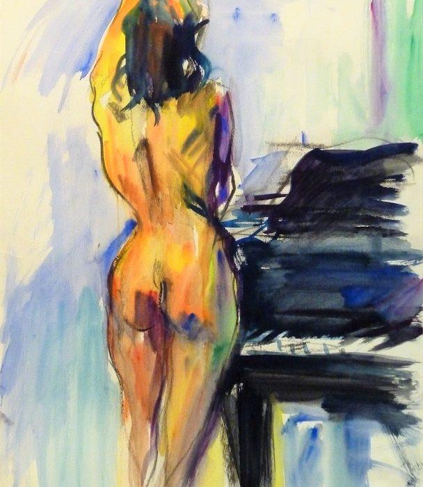 Nu de dos au piano (aquarelle)